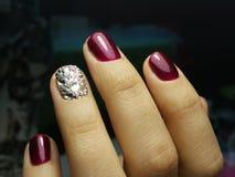 Glamorous crystals manicure. Nails swarovski design fashion stock images
