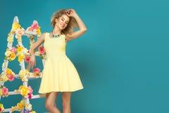 Glamorous curvy blonde woman royalty free stock photo