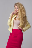 Glamorous curvy blonde woman Stock Images