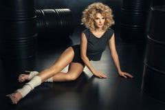 Glamorous curvy blonde woman Stock Images