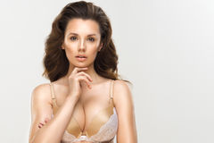 Glamorous curvy brunette woman Stock Photo
