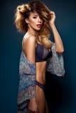 Glamorous curvy brunette woman Stock Photos