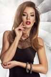 Glamorous curvy brunette woman Stock Photography