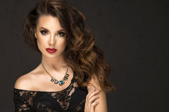 Glamorous curvy brunette woman Royalty Free Stock Photo