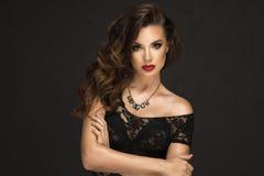 Glamorous curvy brunette woman royalty free stock photos
