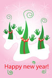 Glamorous dancing christmas trees Royalty Free Stock Photography