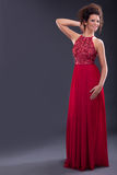 Glamorous elegant woman in a trendy red dress Royalty Free Stock Images