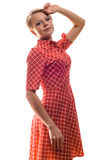 Glamorous elegant woman in a trendy red dress with lovely royalty free stock images