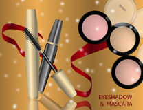 Glamorous Eye Shadows and mascara products package design in 3d. On the  sparkling effects background. Mockup 3D Realistic Vector illustration for design Stock Photos