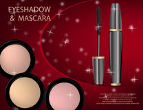 Glamorous Eye Shadows and mascara products package design in 3d Royalty Free Stock Image
