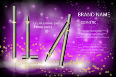Glamorous eyeliner pen and brow pencil on the sparkling effects vector illustration