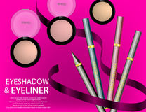 Glamorous Eyeliners and mascara products package design in 3d Stock Image