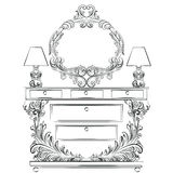 Glamorous Fabulous Baroque Rococo Console Table. And Mirror frame set. French Luxury rich carved ornaments furniture and Wall lamps. Vector Victorian wealthy Stock Photos