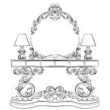 Glamorous Fabulous Baroque Rococo Console Table. And Mirror frame set. Vector French Luxury rich carved ornaments furniture and Wall lamps. Victorian wealthy Royalty Free Stock Image