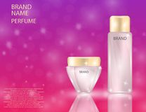 Glamorous face Beauty Care Products Packages and parfume bottle on the sparkling effects background. Glamorous face Beauty Care Products Packages and parfume Stock Image