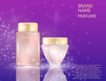 Glamorous face Beauty Care Products Packages and parfume bottle on the sparkling effects background. Glamorous face Beauty Care Products Packages and parfume Stock Photography