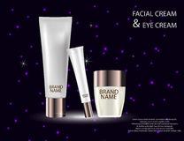 Glamorous face Beauty Care Products Packages on the sparkling. Glamorous face Beauty Care Products Packages on the  sparkling effects background. Mock-up 3D Royalty Free Stock Images