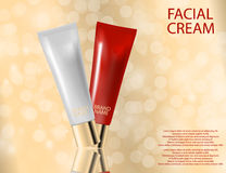 Glamorous face Beauty Care Products Packages on the sparkling. Glamorous face Beauty Care Products Packages on the  sparkling effects background. Mock-up 3D Stock Photography