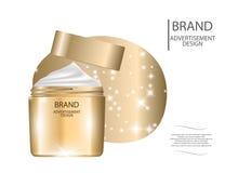 Glamorous facial cream jar Mockup 3D Realistic Vector illustration. For design, template Royalty Free Stock Photo