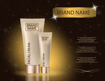 Glamorous facial and eye cream jar on the sparkling effects background. royalty free illustration