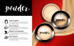 Glamorous Fashion Face Cosmetic Makeup Powder in Black Round Plastic Case Top View ads elegant. flowing liquid texture. royalty free illustration