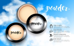Glamorous Fashion Face Cosmetic Makeup Powder in Black Round Plastic Case Top View ads sky blue background. Glamorous Fashion Face Cosmetic Makeup Powder in Stock Photos