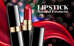 Glamorous Fashion lipstick ads liquid texture flowing lipsticks makeup on dark blur Bokeh background Cosmetics Package Design Stock Photography