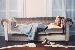 Glamorous Fashion Model Woman. Standing on Background royalty free stock photo