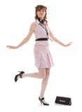 Glamorous fashionable woman. A young fashionable young woman dressed in a trendy, glamorous outfit.  White background Stock Image