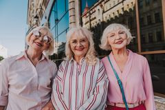 Glamorous female pensioners are taking photo on camera stock photography