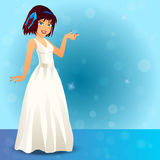 Glamorous female singer in dress Royalty Free Stock Image