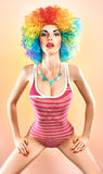 Fashion sexy beauty woman in swimsuit. Vivid party people Royalty Free Stock Images