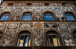 Glamorous florence palace. Bianca Capello´s palace facade in Florence-Italy finely decorated in serigraphy Stock Photography