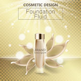 Glamorous foundation ads, glass bottle with foundation and foundation splashes, elegant ads for design, 3d vector.  Stock Photography