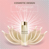 Glamorous foundation ads, glass bottle with foundation and foundation splashes, elegant ads for design, 3d vector.  Royalty Free Stock Photo