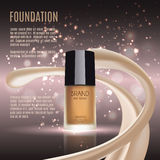Glamorous foundation ads, glass bottle with foundation and sparkling effects, elegant ads for design, 3d illustration. Soft liquid foundation texture Stock Image