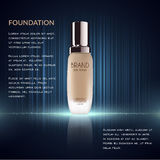 Glamorous foundation ads, glass bottle with foundation and sparkling effects, elegant ads for design, 3d illustration. Soft liquid foundation texture Royalty Free Stock Photos