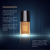 Glamorous foundation ads, glass bottle with foundation and sparkling effects, elegant ads for design, 3d illustration. Soft liquid foundation texture Royalty Free Stock Image