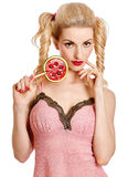 Fashion beauty portrait of sexy girl with lollipop, vivid look Stock Photography