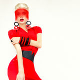 Glamorous girl black and red style Stock Image