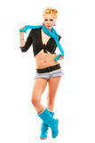 Glamorous girl with blue scarf around her neck Royalty Free Stock Photos