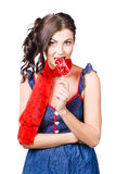 Glamorous girl eating lollipop. Eat your heart out Royalty Free Stock Images
