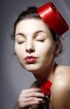 Glamorous girl in an elegant hat Stock Photo