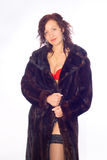 Glamorous girl in fur coat Royalty Free Stock Image