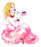 Glamorous girl in pink dress eat slice of cake with cherry. Hand Painted Watercolor Illustration: Glamorous girl in pink dress eat slice of cake with cherry Stock Photos