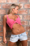 Glamorous girl in a pink shirt with a naked belly Stock Photography