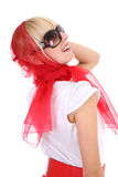 Glamorous girl in red Stock Images
