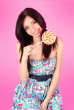 Glamorous Girl Wearing Colorful Dress With Lollipo Stock Images