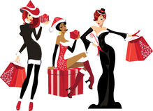 Glamorous girls with christmas gifts Stock Images