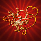 Glamorous Gold - 2014 Valentines Day. Custom Handwriting Calligraphic typography of  a golden Valentines's Day on a glamorous background. The line art follows on Royalty Free Stock Images